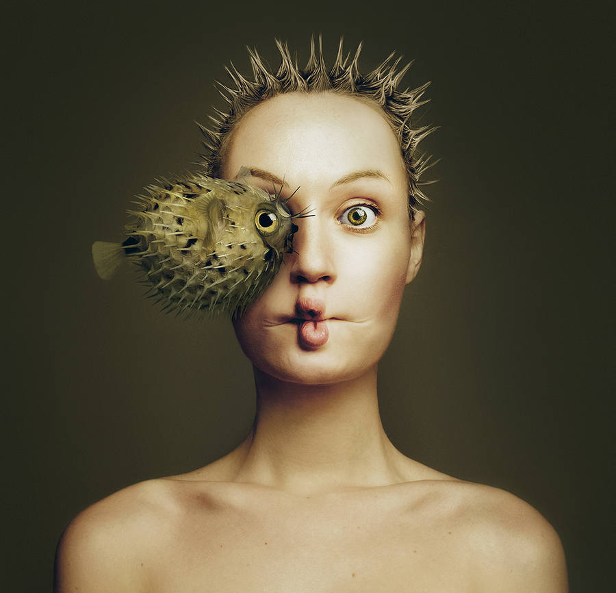 fotos surrealistas con animales y ojos